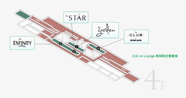 桃園空港第二ターミナルのエバー航空ラウンジ地図