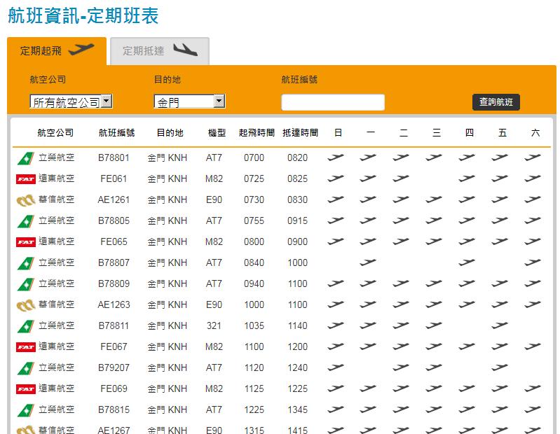 台北松山空港から金門空港までの定期便スケジュール
