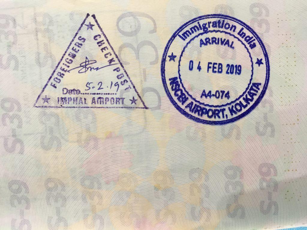 コルカタ空港で押されたパスポートの印