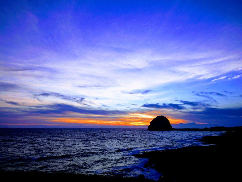 虎頭坡から饅頭岩の夕焼け