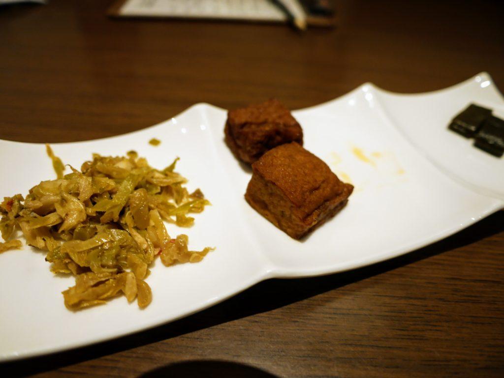 府城晶華の牛肉麺の前菜
